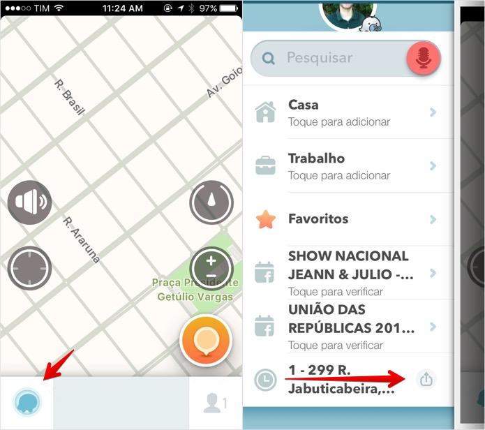 Acesse o menu principal do Waze (Foto: Reprodução/Helito Bijora)