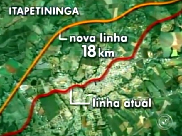 Novo trajeto da ferrovia será menos sinuoso, com 18 km, e passará pela região periférica da cidade. (Foto: Reprodução/TV Tem)