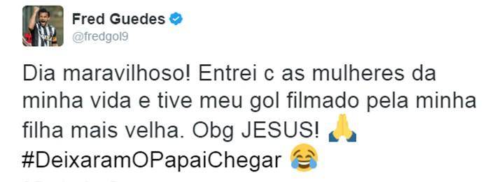 Filha de Fred registrou o gol do atacante contra o Villa Nova (Foto: Reprodução / Twitter)