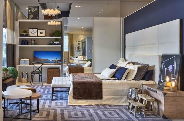 Quarto Casal Azul Marinho E Branco ~ 15 ambientes para inspirar sua reforma  Casa Vogue  Decora??o