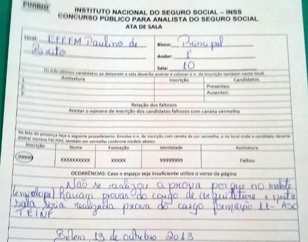 Candidato registrou a ata da prova. (Foto: Diego Santos/ Arquivo Pessoal)
