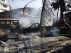 Carcaças de carros pegam fogo e ficam destruídas em João Pessoa