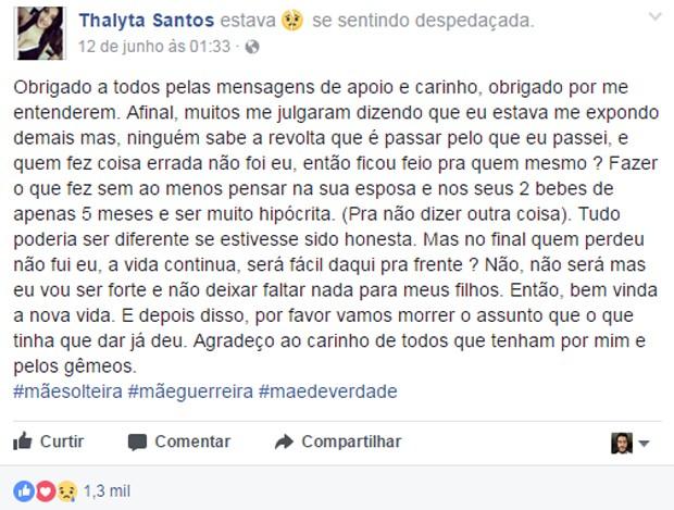 Thalyta Santos fala de separação de Pepê no Facebook (Foto: Reprodução/Facebook)