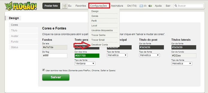 Vá em Configurações e selecione Desativar Conta (Foto: Reprodução/Flogão)