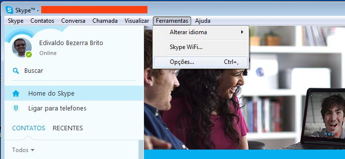 Acessando as opções do Skype (Foto: Reprodução/Edivaldo Brito)