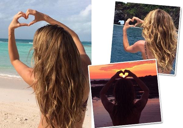 Gisele sempre posta fotos fazendo coração com a mão (Foto: Reprodução/Instagram)