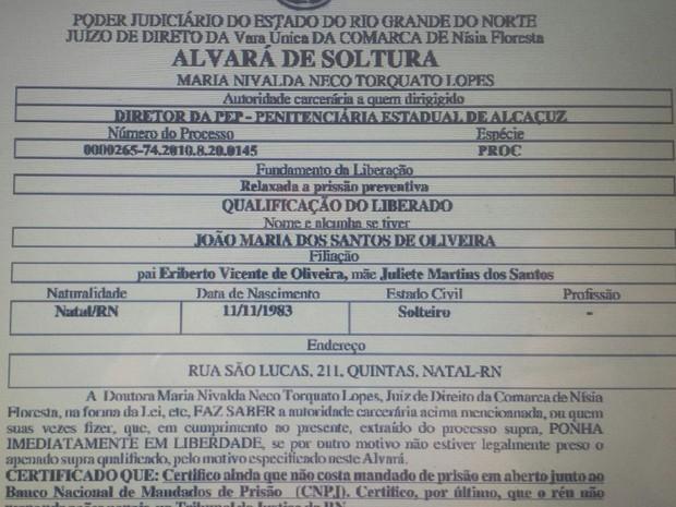 Alvará de soltura falso foi enviado de e-mail da Coape para a Penitenciária Estadual de Parnamirim (Foto: Reprodução/G1)