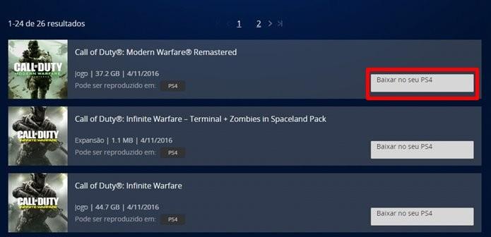 Ordem de download é dada pelo computador, mas game é baixado no PS4 (Foto: Reprodução/Felipe Demartini)