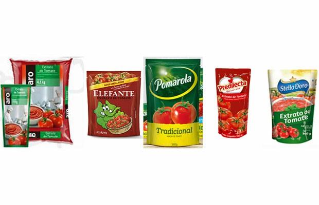 Anvisa encontrou pelo de roedor em lote de quatro marcas de extratos de tomate e uma marca de molho de tomate (Foto: Reprodução/ Makro/ Cargill/ Predilecta/ Stella D'Oro)