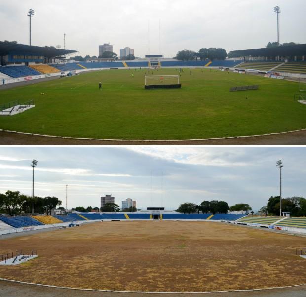 Andamento da reforma no estádio Martins Pereira, em agosto (Foto: Danilo Sardinha/Globoesporte.com)