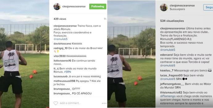 Preparador edita post de Romulo no Flamengo (Foto: Reprodução/Instagram)