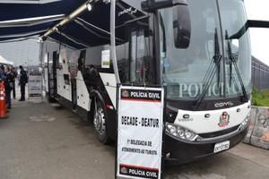 Ônibus com delegacia móvel em estádios de São Paulo (Foto: Divulgação)