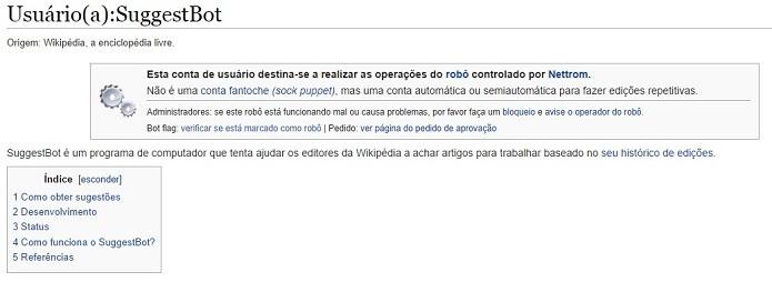 SuggestBot dá sugestões de páginas da Wikipédia que precisam de edição (Foto: Reprodução/Raquel Freire)