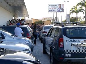 Confusão aconteceu na Universidade Potiguar (UNP) da Av. Engenheiro Roberto Freire (Foto: Reprodução/Inter TV Cabugi)