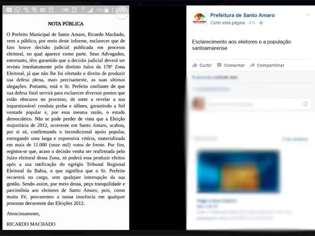 Nota pública que a prefeitura de Santo Amaro publicou em rede social (Foto: Reprodução/ Facebook)