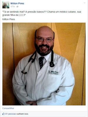 Postagem médico RS Dilma debate cubanos mais médicos (Foto: Reprodução/Facebook)