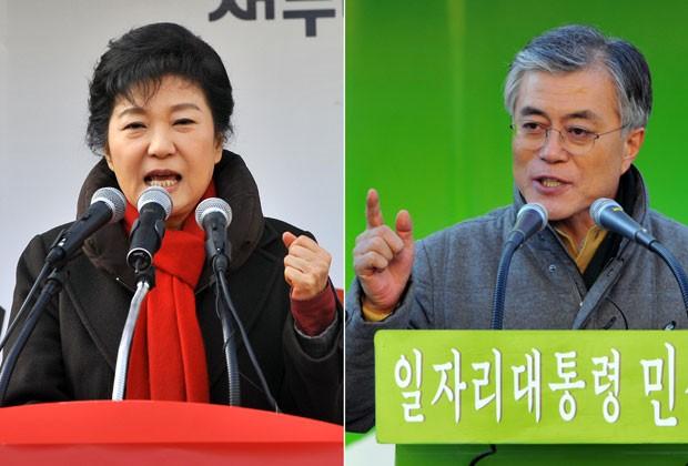 Park Geun-hye e Moon Jae-in disputam a presidência da Coreia do Sul (Foto: AFP)