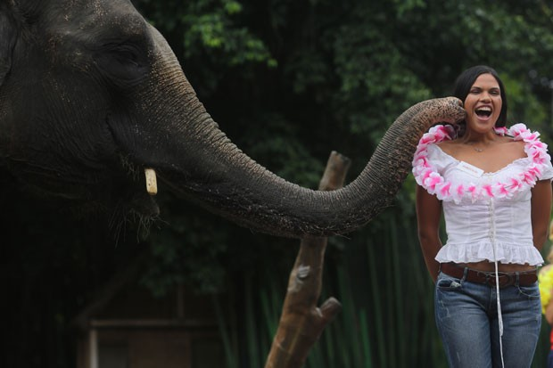 Elisabete Rodrigues recebeu carinho de elefante durante visita em parque safári (Foto: Miss World/AFP)