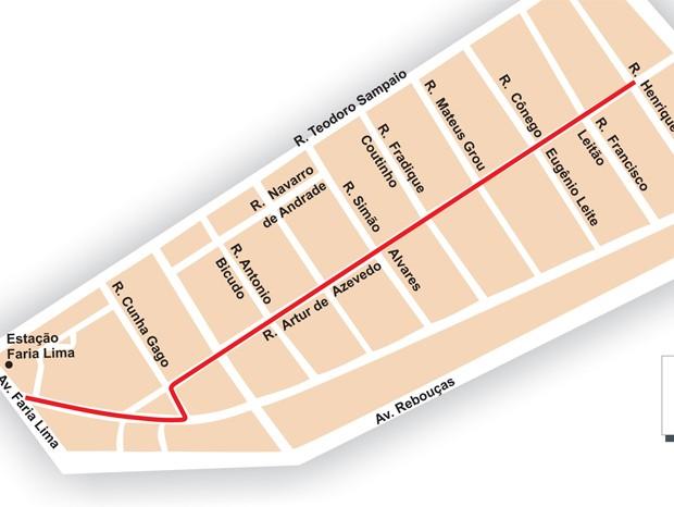 Novo trecho da ciclovia, assinalado em vermelho, interliga as avenidas Faria Lima e Henrique Schaumman (Foto: Divulgação/Prefeitura de SP)