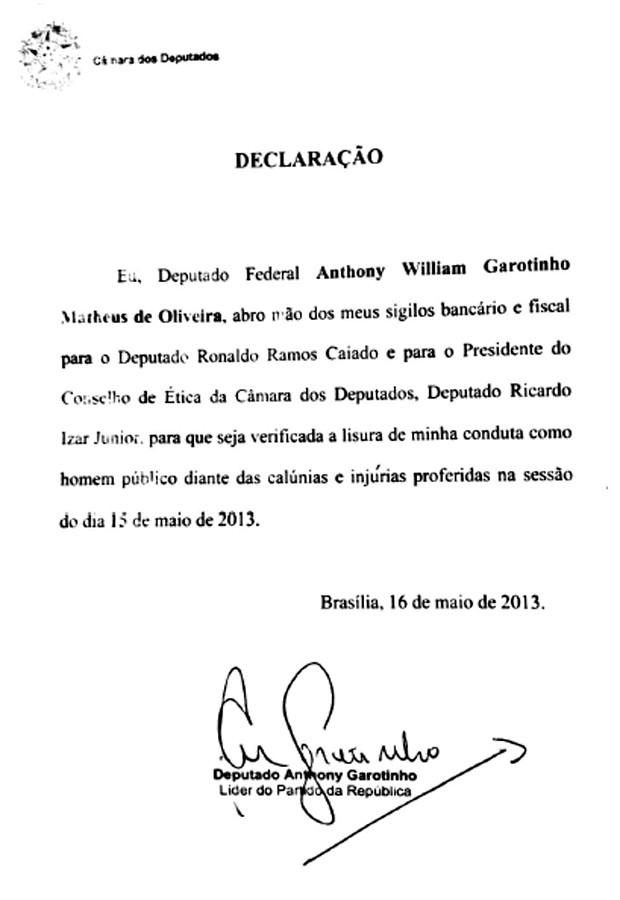 Declaração apresentada pelo deputado Anthony Garotinho (Foto: Reprodução)