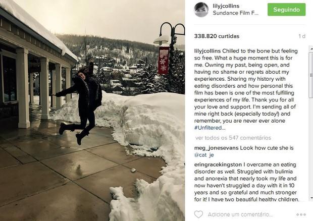 Lily Collins no Instagram (Foto: Reprodução)