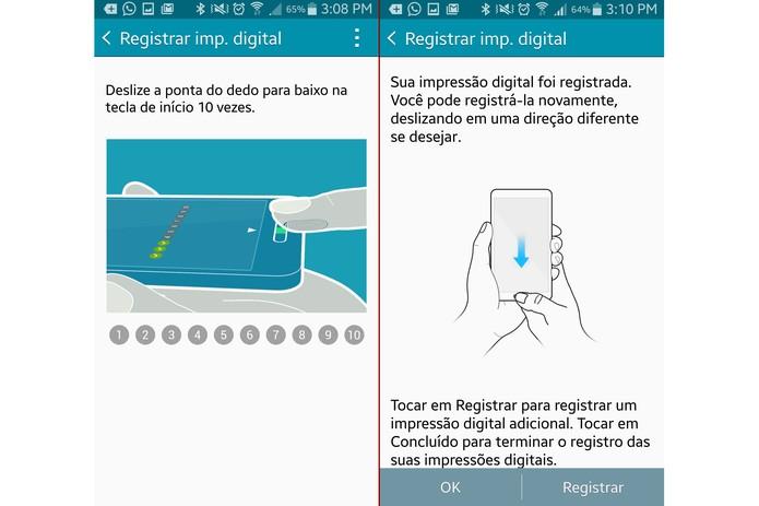 Deslize o dedo no botão de início dez vezes para configurar o leitor digital (Foto: Reprodução/Lucas Mendes)