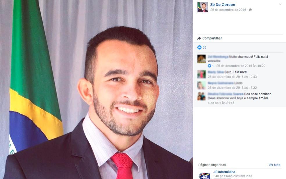 Vereador Zé do Gerson morreu em acidente na madrugada deste domingo (Foto: Reprodução/Facebook)