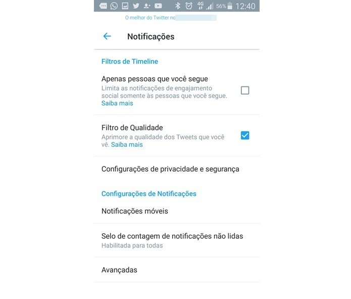 Ativando filtro de qualidade para notificações do Twitter