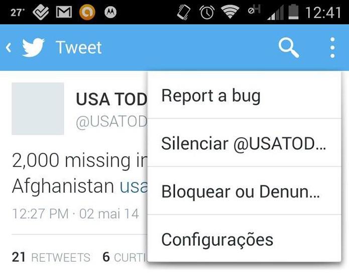 Twitter para Android e iOS agora oferece a opção de silenciar usuários muito tagarelas (Foto: Reprodução/Melissa Cruz) (Foto: Twitter para Android e iOS agora oferece a opção de silenciar usuários muito tagarelas (Foto: Reprodução/Melissa Cruz))