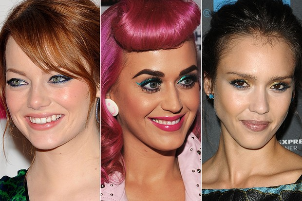 Delineador colorido - Emma Stone, Katy Perry e Jessica Alba (Foto: Getty Images)