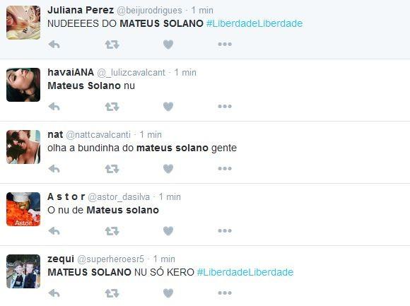Internautas repercutem cena de Mateus Solano (Foto: reprodução/twitter)