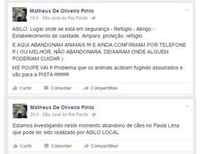 Vereador denunciou abandono de animais em página de rede social (Foto: Matheus Mafepi/ Arquivo Pessoal)