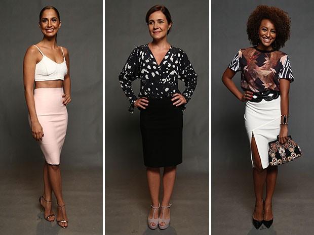 Camila Pitanga, Adriana Esteves e Sheron Menezes escolheram a clássica saia lápis. De diferentes modelos, inspire-se e veja qual modelo combina mais com você! (Foto: Raphael Dias/Gshow)