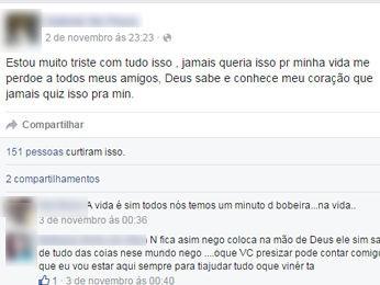 Suspeito de matar cabeleireiro postou mensagem e pediu perdão (Foto: Reprodução/Facebook)