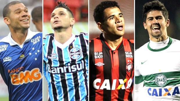 Montagem Cruzeiro, Atlético-pr , Grêmio e Coritiba (Foto: Editoria de Arte)