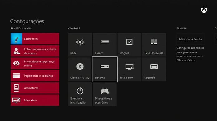 No menu Configurações clique em Sistema. (Foto: Reprodução/Renato Carvalho)