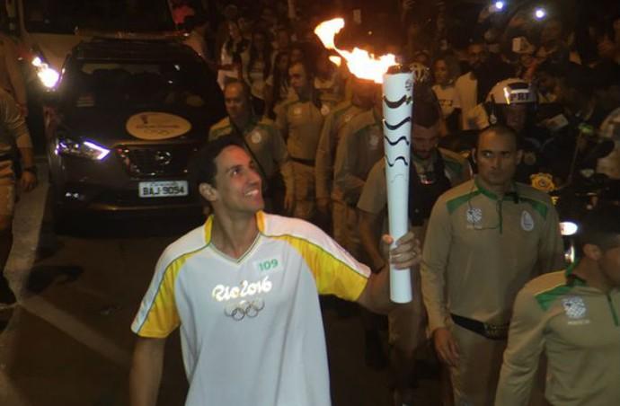 André Nascimento, tour da tocha, tocha olímpica, Juiz de Fora (Foto: Pedro Veríssimo)