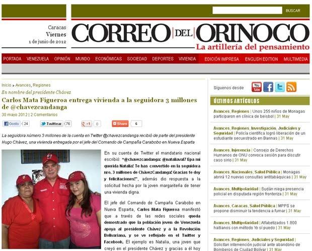 Reportagem do 'Correo del Oniroco' mostra o ex-ministro e candidato chavista Carlos Mata Figueroa durante entrega da casa à seguidora número 3 milhões de Chávez no Twitter (Foto: Reprodução)
