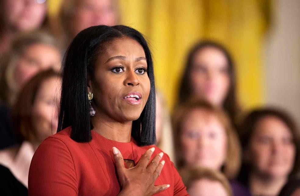 Michelle Obama em seu discurso final como primeira-dama dos Estados Unidos (Foto: Manuel Balce Ceneta/AP)