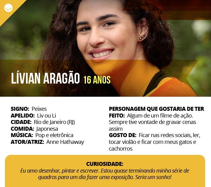 Card com informações curiosas de Lívian Aragão (Foto: Gshow)