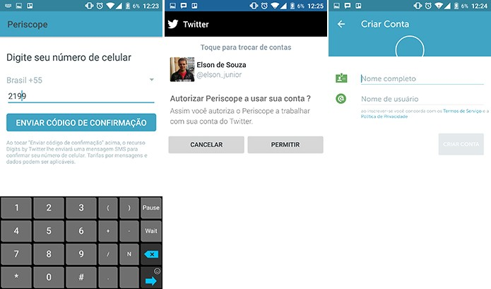 Periscope oferece envia SMS de confirmação para conta a partir de número ou pede confirmação no Twitter (Foto: Reprodução/Elson de Souza)