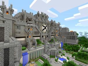 Cena de 'Minecraft' rodando no Xbox One, o videogame de nova geração da Microsoft (Foto: Divulgação/Microsoft)