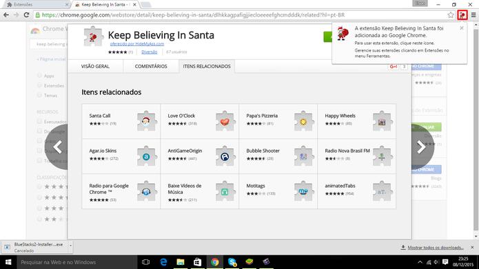 Extensão que protege Papai Noel foi adicionada à barra do navegador (Foto Reprodução/Elson de Souza)