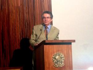 O ministro Marco Aurélio Mello, durante sessão do TSE (Foto: Mariana Oliveira/G1)