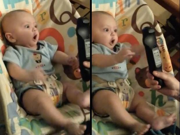 Vídeo de bebê agitado ao ver o controle remoto faz sucesso na web (Foto: Reprodução/YouTube/Evelyn Terastvatsatrian)