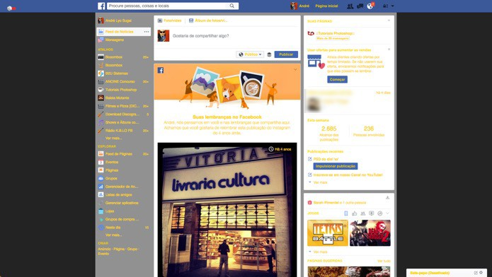 Facebook com cores alteradas (Foto: Reprodução/André Sugai)