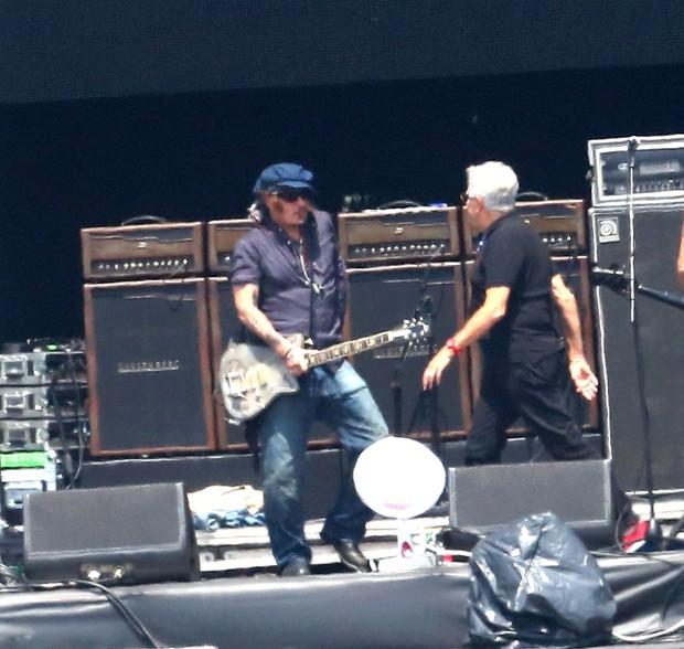 Johnny Depp passando som na Arena do Rock (Foto:  GABRIEL RANGEL/AgNews)