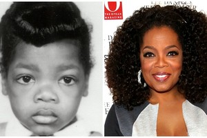 Oprah: Na foto de criança a Oprah não parece estar muito feliz. Hoje, porém, ela só tem a comemorar como uma das mulheres mais influentes e poderosas na indústria do entretenimento.  (Foto: Reprodução)