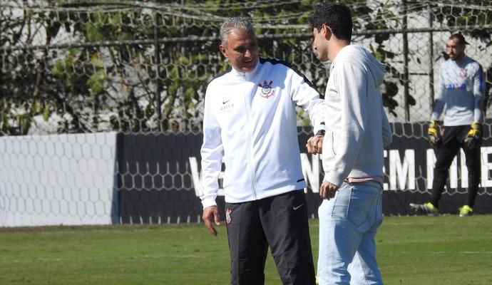 Tite e Matheus Vidotto, Corinthians (Foto: Marcelo Braga)
