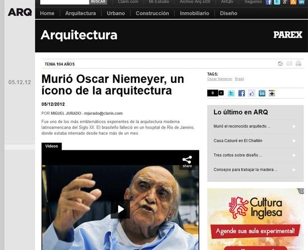 O jornal argentino 'Clarín' afirma que Niemeyer foi 'um homem que sempre se deixou levar por suas ideias e suas convicções, um criador que havia tempo já tinha assegurado seu lugar no mítico panteão dos maiores arquitetos da história da humanidade (Foto: Reprodução)